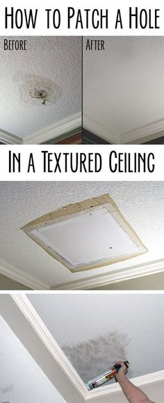 Any home owner can and should learn how to patch a hole successfully. Popcorn ceiling or known-down texture, doesn't matter. The process is basically the same and requires few tools and some patience. DIY process with step by step pictures here: http://www.ehow.com/how_7809461_patch-hole-textured-ceiling.html?utm_source=pinterest.com&utm_medium=referral&utm_content=inline&utm_campaign=fanpage