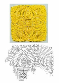 crochet - lovely pineapple square motif with chart