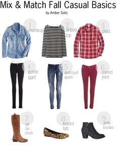 Mix and Match Fall Casual basics - my list of fall wardrobe essentials, the basic pieces you can remix into several outfits! chambray, striped top, plaid shirt, ponte pants, destroyed denim, colored denim, boots, leopard flats, ankle booties, fashion style blogger, polyvore board, outfit inspiration, shopping list
