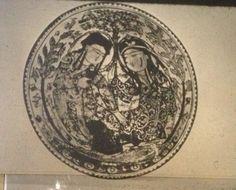 Чаша типа минаи, 13в. Двое влюдлённых под деревом, Иран