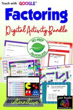 Teach Factoring with theses engaging paperless NO PREP Digital Activities and Assessments. #tptdigital #algebra #factoring