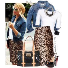 Denim jacket, scoop t and pencil or try chambray shirt and leopard pencil