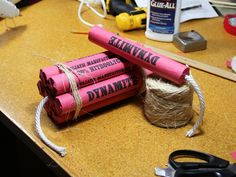 Make fake dynamite for your next stage production or Halloween costume.