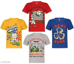 Tshirts & Polos Attractive Cotton Kids Boy's T - Shirt (Pack Of 4)  Fabric: Cotton Sleeves: Sleeves Are Included Size: (Refer Size Chart) Age Group (2 - 3 Years) Age Group (4 - 5 Years)  Age Group (6 - 7 Years)  Age Group (8 - 9 Years)  Age Group (10 - 11 Years)  Type: Stitched Description: It Has 4 Pieces Of Boy's T - Shirt Work: Printed Country of Origin: India Sizes Available: 2-3 Years, 4-5 Years, 6-7 Years, 8-9 Years, 10-11 Years   Catalog Rating: ★4.1 (276)  Catalog Name: Free Mask Classic Attractive Cotton Kids Boy's T - Shirt Combo Vol 4 CatalogID_389951 C59-SC1173 Code: 336-2870129-7071
