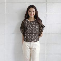 Short Sleev Over Size Tops Lace Cotton Soi-Fah ฺBrown Color-www.tanbagshop.com