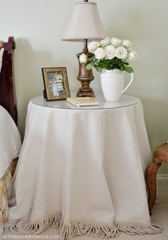 DIY:: Drop-cloth No Sew Round Tablecloth With Gorgeous Fringe !