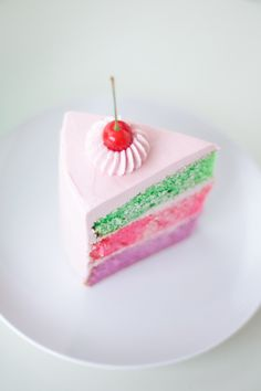 perfectly pink slice of cherry topped cake - coco cake land