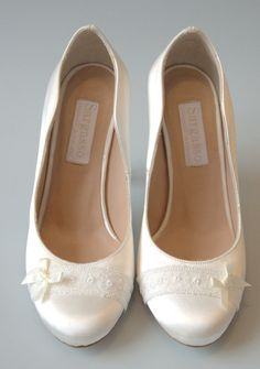 Wide Fit Customised Wedding Shoes Handmade To Order In England White Satin With Lace