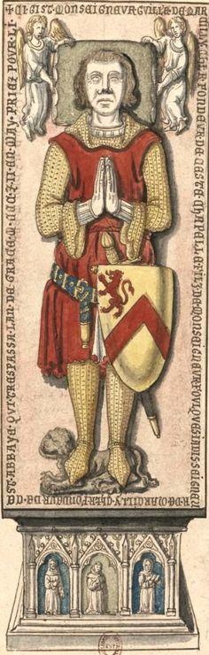 """Gilles de Marcilly, chevalier (†1300?) (Gaignières 4159) -- Dessin d'une pierre tombale à l'église de l'Abbaye du Brueil-Benoist, Fonds Gaignières [BNF Est. Réserve Pe-6-Fol.] -- «Ci gist monseigneur Guillé de Marcilly chlr fondeur de ceste chapelle, filz de monseigneur Foulques jadis seigneur de Marcilly chlr fondeur de St Abbaye, qui trespassa lan de grace M.CCC.Z.II en May. Priez pour li."""""""