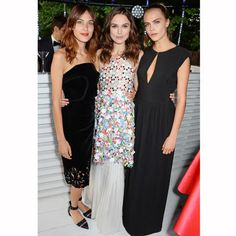 Almost the red carpet: Alexa, Keira and Cara at the Serpentine Summer Party