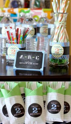 Alphabet ABC birthday party theme Second 2nd Kids Boy Girl Chalkboard Teacher School