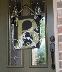 Personalized Door Hanger Sign --  16x20 in FLOURISH INITIAL Style. $75.00, via Etsy.