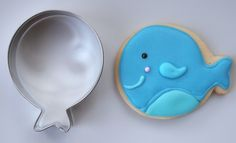 Blue Whale Sugar Cookies made with a Balloon Cookie Cutter