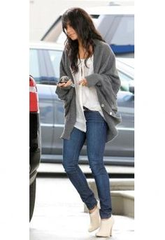 Shoes, cardigan, jeans