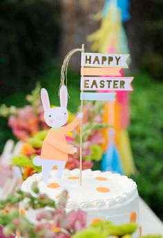 Make this spring holiday extra special for your little ones by planning a kids' Easter party with some of these bright ideas from Happy Wish Company. Easter Bunny Cake, Hoppy Easter, Easter Party, Easter Table, Easter Cake Toppers, Happy Wishes, Easter Activities, Family Activities, Easter Crafts