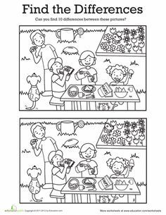 Worksheets: Find the Differences: At a Picnic