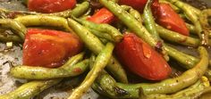 Fresh roasted green beans and Roma tomatoes