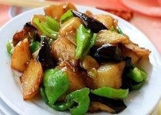 Stir-Fried Potatoes with Eggplants and Green Peppers