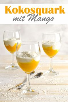 Light and tasty dessert: coconut quark with mango puree, low carb, vegan may be . - Dessert Recipes : Light and tasty dessert: coconut quark with mango puree, low carb, vegan may be . Mango Desserts, Low Carb Desserts, Low Calorie Recipes, Healthy Dessert Recipes, Vegan Desserts, Delicious Desserts, Coconut Desserts, Desserts Thermomix, Mango Puree