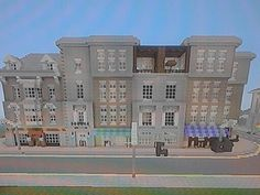 Row of apartments with shops on ground floor