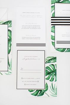 We love how these black and white invitations stand out the lush green monstera leave paintings! Wedding Stationery Fonts, Green Wedding Invitations, Wedding Stationary, Wedding Card, Wedding Decor, Wedding Ideas, Botanical Wedding, Palm Wedding, Modern Wedding Inspiration