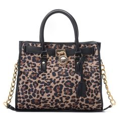 "Michael Kors Hamilton Large Calf-hair Tote * Dyed leopard-print calf hair with black leather trim. * Golden hardware. * Top handles. * Chained shoulder strap; 14 1/2"" drop. * Strapped top with logo-engraved lock detail. * Hanging key. * 13""H x 14""W x 6 1/4""D."