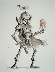 In It For The Lolly by PickledCircus on Etsy, star wars han solo boba fett Comic Books Art, Comic Art, Star Wars History, Star Wars Bounty Hunter, Star Wars Han Solo, Star Wars Boba Fett, Sci Fi Art, Star Wars Art, Caricature