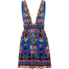 Camilla Embellished printed silk crepe de chine mini dress (2.240 RON) ❤ liked on Polyvore featuring dresses, embellished short dress, plunging neckline dress, pattern dress, short colorful dresses and short dresses