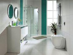 A modern, white bathroom.