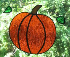 Autumn Pumpkin Stained Glass Suncatcher