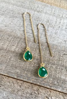 YOUR CHOICE OF GEMSTONE! Tiny faceted gems dangle from 14K gold fill threaders for an easy everyday look.  Each pear-shaped stone is housed in  bright 18k gold vermeil.