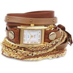 La Mer Collections Brown Taupe Gold Stud Arizona Bracelet Wrap Watch ($110) ❤ liked on Polyvore featuring jewelry, watches, bracelets, accessories, chain watches, brown strap watches, brown leather strap watches, wrap watch and chains jewelry