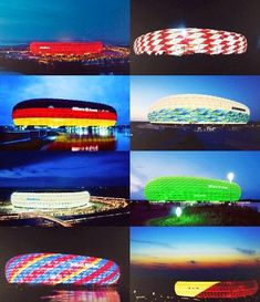 Allianz Arena Munich: examples of the many uses of colour coordination making the facade of the building.