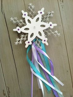 Frozen Elsa Snowflake Ribbon Glitter Decorations - 2014 Halloween Frozen Party Favors