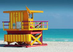 Miami Beach Lifeguard Shack I Print by W Kurt Staley