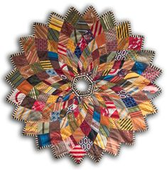 Chicago Lost and Found Kaleidoscope Christmas Tree Skirt - the description of how this tree skirt is created from upcycled neckties is a tour de force. Quilting Projects, Sewing Projects, Craft Projects, Necktie Quilt, Christmas Tree Skirts Patterns, Old Ties, Tie Crafts, Felt Crafts, Quilt Making
