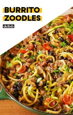 20 Low Carb Zucchini Noodles Recipes - Easy to do - Karluci Zoodles are a great pasta substitute to make things healthier with added veggies and low in carbs. They pair great with normal pasta recipes and stir fry t Beef Recipes, Mexican Food Recipes, Cooking Recipes, Healthy Recipes, Cooking Tips, Recipies, Delicious Recipes, Rice Recipes, Dessert Recipes