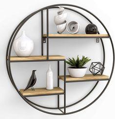 Wood And Metal Shelves, Wood Wall Shelf, Wooden Shelves, Wall Shelves Design, Ikea Kallax Shelving, Modern Floating Shelves, Round Shelf, Home Deco