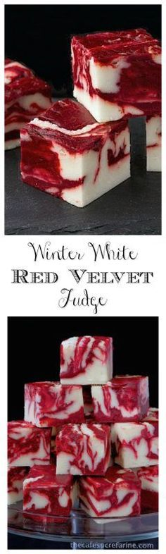 Winter White Red Velvet Fudge - A delicious, beautiful fudge for any season; not just winter! Try it for your next party; or for fun gifts to give relatives, neighbors and friends. christmas food and drinks Fudge Recipes, Candy Recipes, Holiday Recipes, Dessert Recipes, Winter Recipes, Christmas Recipes, Homemade Christmas, Baking Recipes, Just Desserts