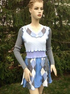 Tunic Sweater Handmade M Size Woolfree Argyle by DesignByNatalia, $68.00