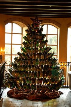 Start drinking!!!  Wine bottle Christmas tree...how cool!