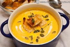 supa-crema-de-dovleac Baby Food Recipes, Soup Recipes, Yummy Food, Tasty, Raw Vegan, Easy Peasy, Thai Red Curry, Nom Nom, Bacon