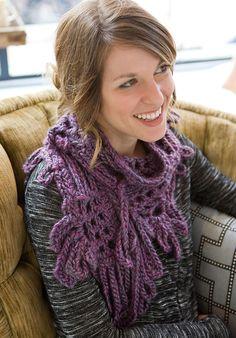 Purple Fringe Crochet Scarf