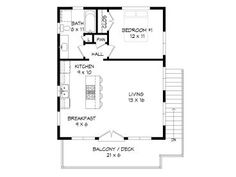 Modern garage apartment plan features 1 bedroom, 1 bath and an open floor plan designed for a view. Pool House Plans, Duplex House Plans, Family House Plans, Garage Apartment Plans, Garage Apartments, Garage Plans, Barn Plans, Shed Plans, Garage Door Sizes