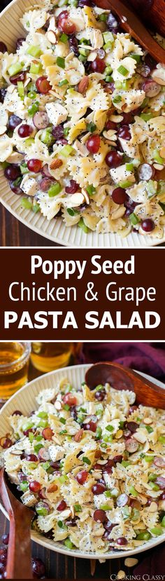 Poppy Seed Pasta Salad – with this recipe you get tender bowtie pasta, hearty pieces of chicken, sweet grapes, crisp celery and crunchy almonds all coated with an irresistible creamy poppy seed dressing. via Jaclyn {Cooking Classy} Poppy Seed Chicken, Cooking Recipes, Healthy Recipes, Cooking Tips, Bariatric Recipes, Cooking Videos, Grilling Recipes, Pasta Salad Recipes, Food Salad