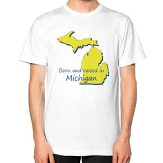 Unisex T-Shirt (on man) - Michigan. American Apparel Fine Jersey (2001) short sleeve T-shirt is made of 100% fine ring-spun combed cotton. Traditional cut for both men and women. This lightweight fine jersey is exceptionally smooth. Made in USA. 9 skilled workers construct each T-Shirt in a sweatshop-free environment in downtown Los Angeles. The product is printed on demand and cannot be returned or exchanged. Picture designed by Jeff Little (co-owner, JnK Gift...