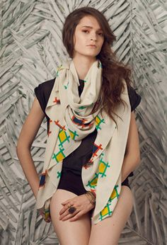 A Peace Treaty Kasuri Scarf available at les pommettes los angeles