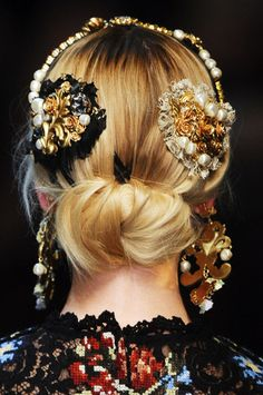 Baroque Bejeweled Hair Accessories | Dolce & Gabbana Fall Winter 2012.