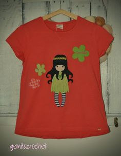 camiseta personalizada muñeca gorjuss, patchwork