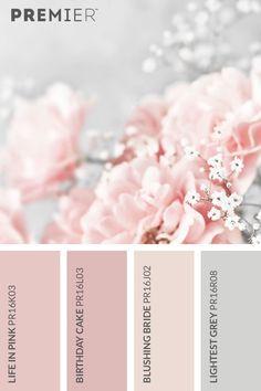Beautiful blossom colour palette #PaintWithPREMIER Life in Pink: PR16K03 Birthday Cake: PR16L03 Blushing Bride: PR16J02 Lightest Grey: PR16R08